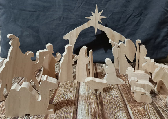 Full Wooden Nativity Set