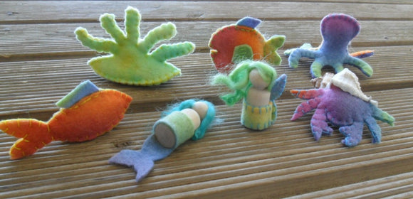 Wool Felt Small World Play Rainbow Mermaid World Set