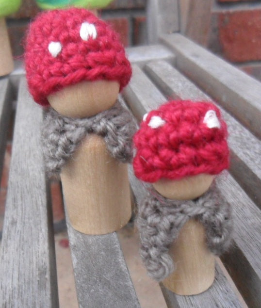 Mushroom Peg Doll Set of 2