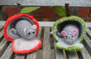 Wool Crochet Mouse with Wet Felted Apple