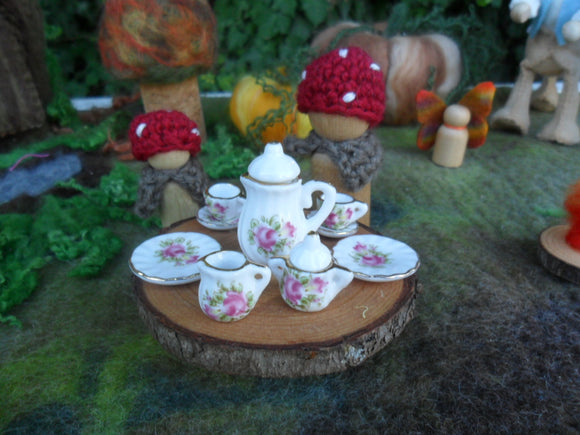 Mini Ceramic Dolls Tea Set - patterned