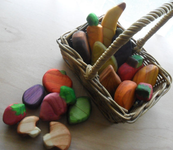 Waldorf Steiner Inspired Wooden Play Fruit and Vegetables Handmade