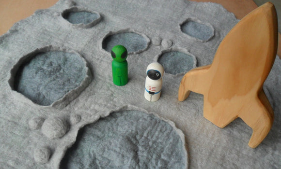 Space moon wet felted play mat with alien astronaut rocket steiner craft