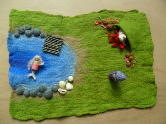 Wet Felted Beach Cove Play Mat