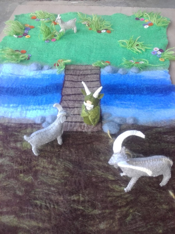 Wet Felted Billy Goats Gruff Play Mat