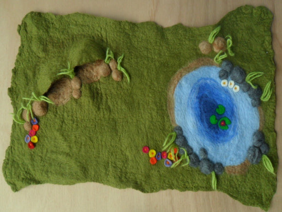 Darker Green Wet Felted Pond Play Mat - With pond and two little caves