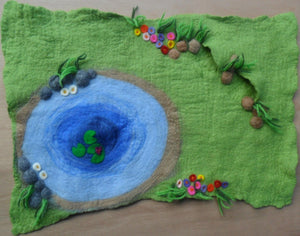 Wet Felted Pond Play Mat - With pond and two little caves