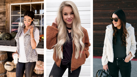 Bloggers wearing Sherpa trend collage