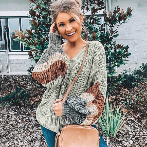 Charlee Oversized Chevron Sleeve Sweater Green