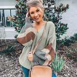 Oversized Chevron Sleeve Sweater Green