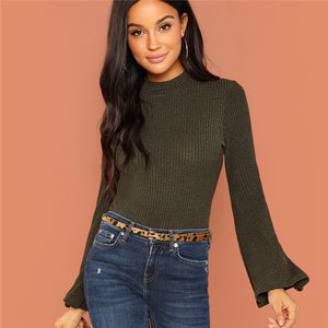 Bell Sleeve Stand Collar Long Sleeve Top
