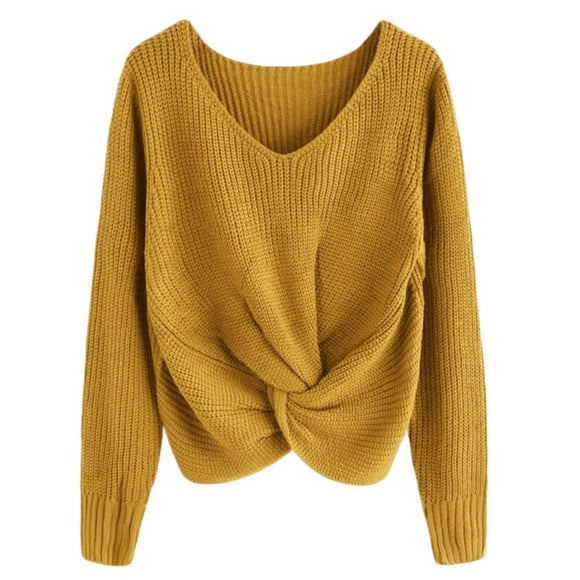 Twist Front Cropped Sweater Mustard