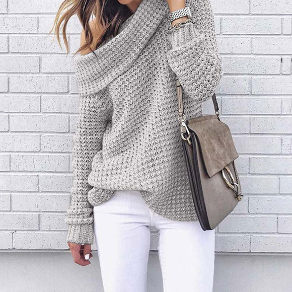 Jordana Knitted Off the Shoulder Sweater with Oversized Collar Grey