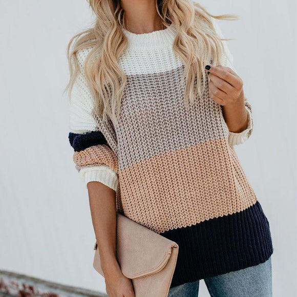Millie Knitted Stripe Colorblock Sweater