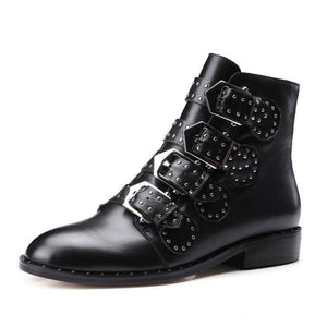 Zoe Black Buckle Strap Ankle Boots