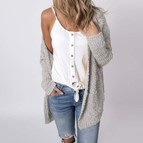 Light Gray Popcorn Textured Cardigan