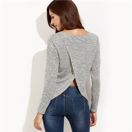 Open Back Tulip Hem Long Sleeve Top Gray
