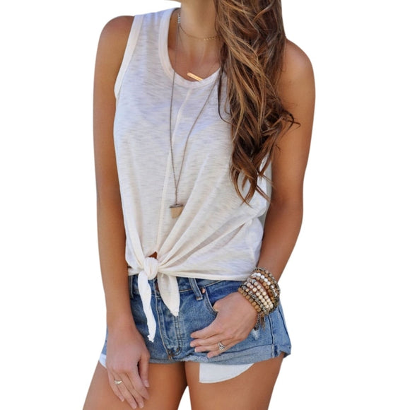 Women's White Tie Front Tank Top White