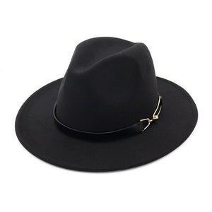 Lindsay Fedora Hat with Buckle Red