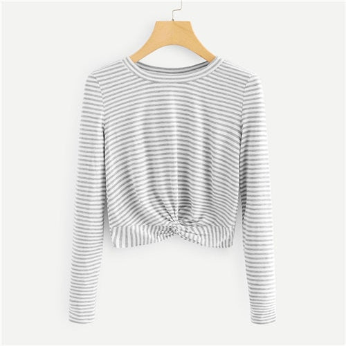 Sabrina Twist Hem Long Sleeve Top
