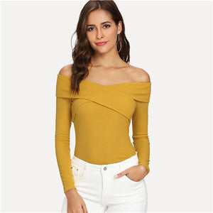Shayla Ginger Crossover Long Sleeve Top