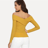Shayla Ginger Crossover Long Sleeve Top Back View
