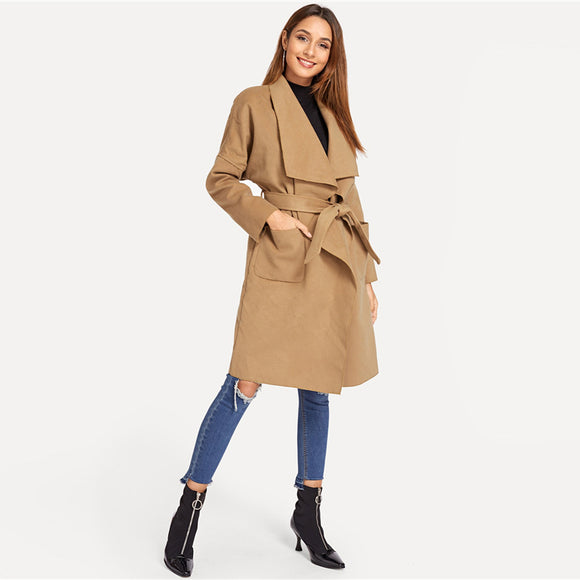 Classic Camel Belted Coat