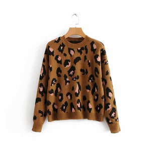 Fall Leopard Print Sweater Top