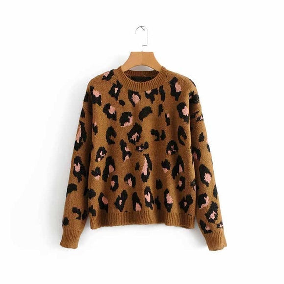 Fall Leopard Print Knitted Pullover Sweater Top