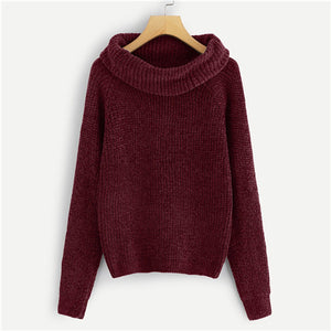 Jenny Maroon Cowl Neck Chenille Sweater Full View