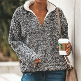 Christine Sherpa Fleece Pullover Gray