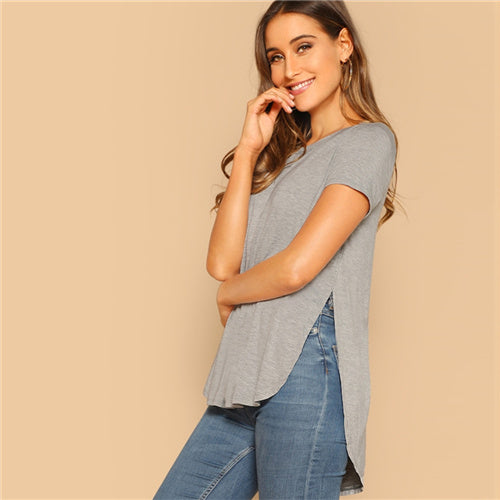 Split Side Short Sleeve Shirt Gray