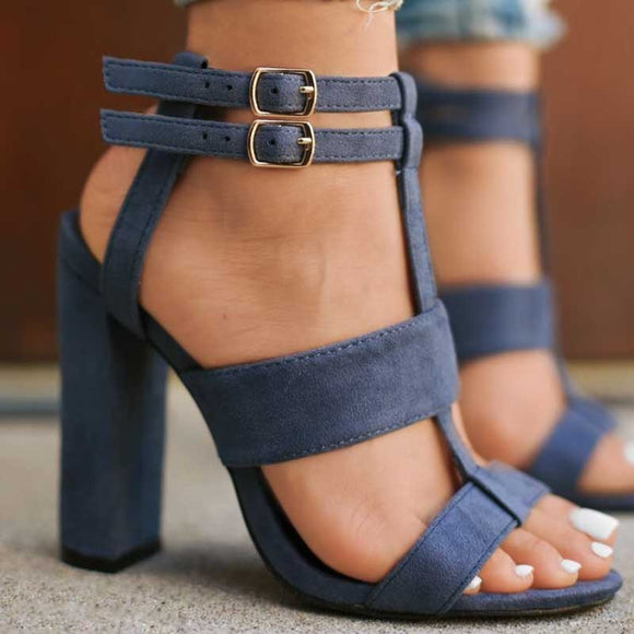 Blue Double Ankle Strap Suede Heel