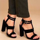 Cristina Black Double Ankle Strap Suede Heels