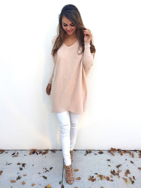 Daria Long Knitted Pullover Sweater Top Pink