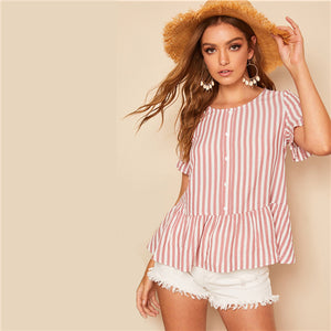 Pink Candy Stripe Button Peplum Top