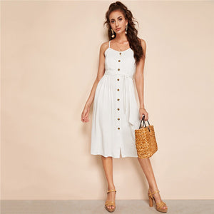 Camryn White Button Down Spaghetti Strap Midi Dress