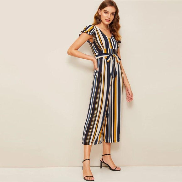Navy and Mustard Stripe Jumpsuit