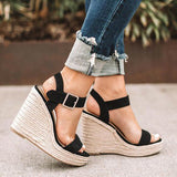 Haley Ankle Strap Wedge Fashion Sandals Black