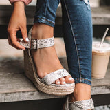 Haley Ankle Strap Wedge Fashion Sandals Snakeskin