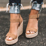 Haley Ankle Strap Wedge Fashion Sandals Camel