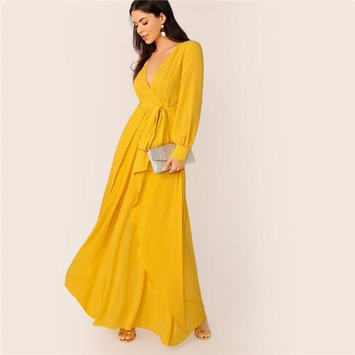 Grace Mustard Wrap Maxi Dress
