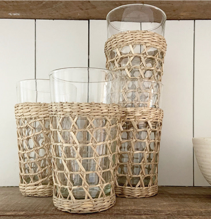 Set of 6 Seagrass caged Highballs
