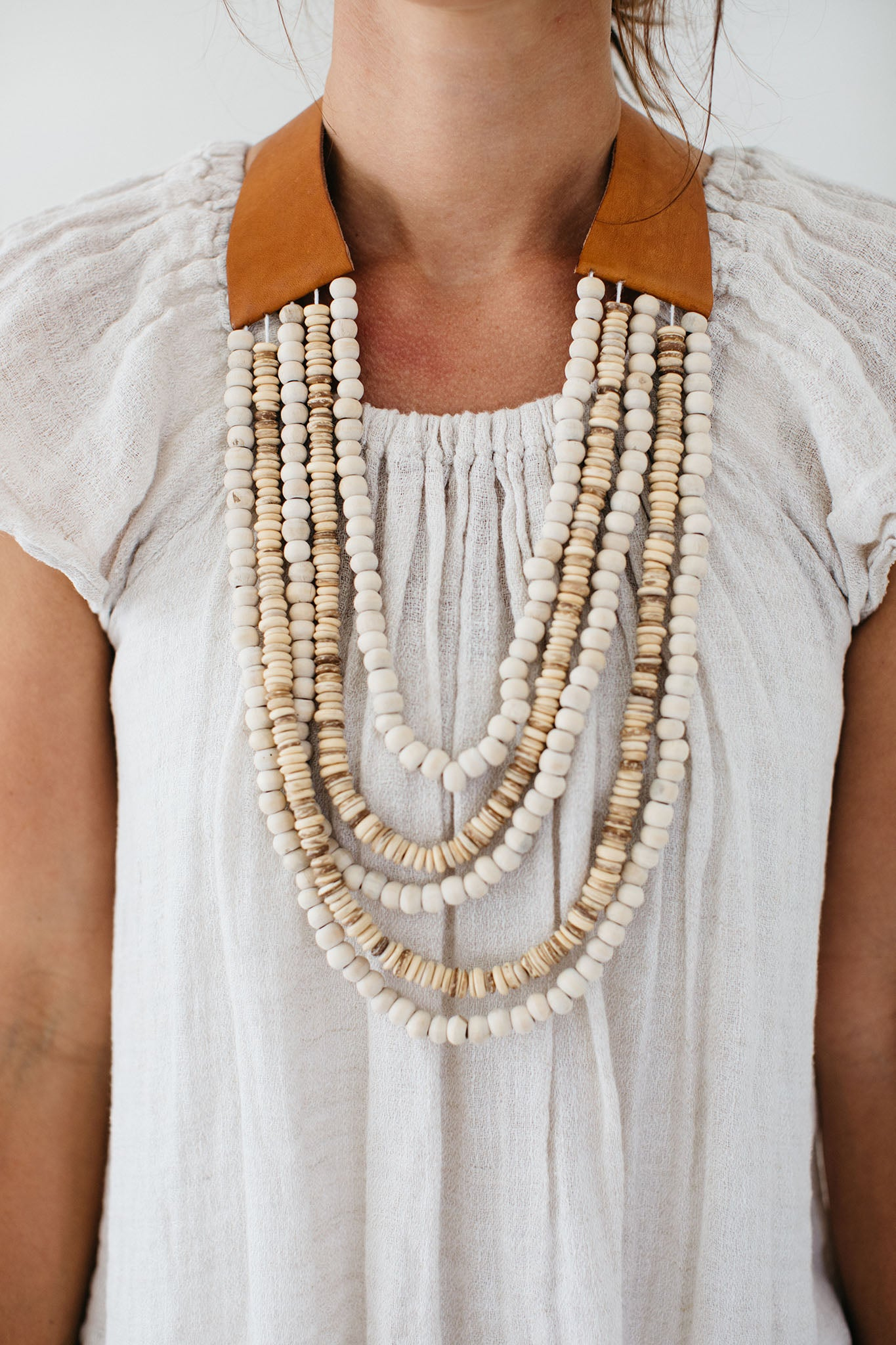 Leather & Wood Beaded Necklace