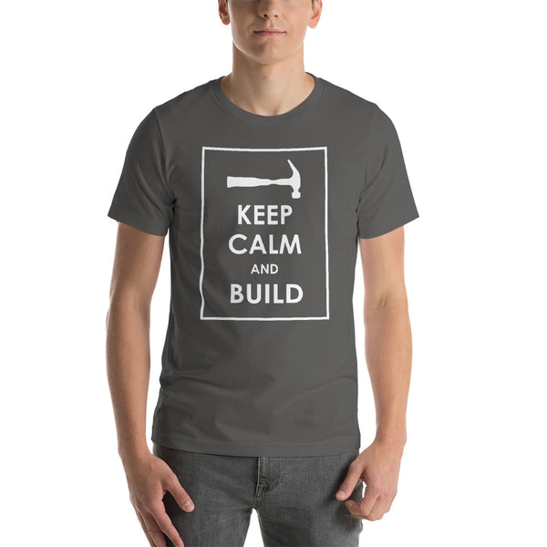 """Keep Calm and Build"" (Dark) - Short-Sleeve Men's T-Shirt"