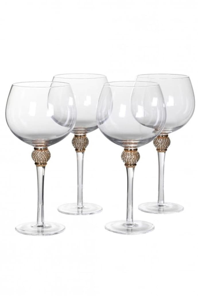 Gold Diamante Gin Glass