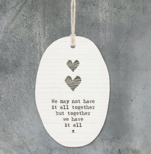 East of India porcelain hanger - two hearts