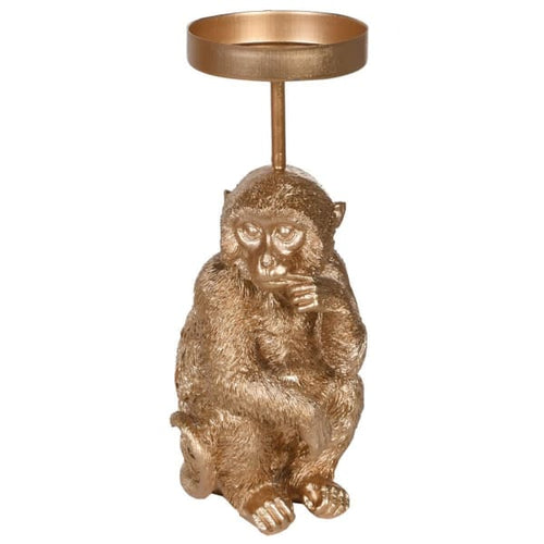 Puzzled monkey candle holder