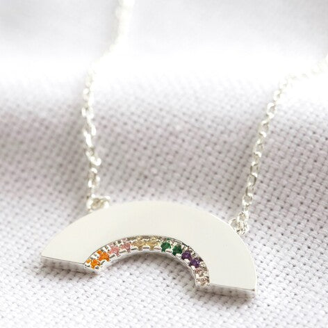 Lisa Angel Silver Crystal Rainbow Necklace