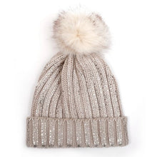Load image into Gallery viewer, Sparkle faux fur Bobble Hat